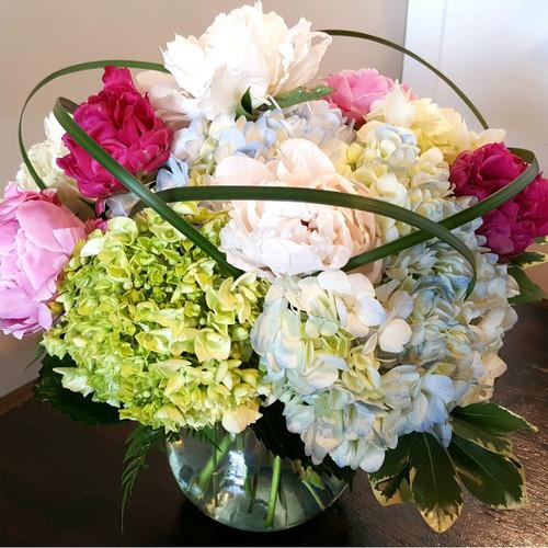 Send the Peonies & Hydrangea Bouquet, featuring fresh peonies and hydrangeas.