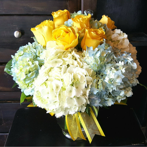 Yellow roses, blue hydrangea welcome new baby or any occasion