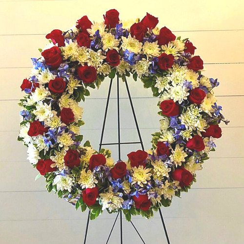 Red, White & Blue Funeral Wreath