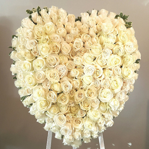 Sending My Love Heart Funeral Wreath, over 26 inches and designed with premium white roses.