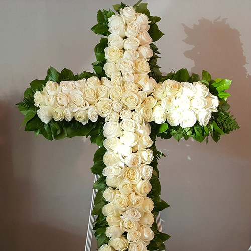 White Rose Remembrance Funeral Cross, over 48 inches high and 36 inches wide, designed with premium white roses.