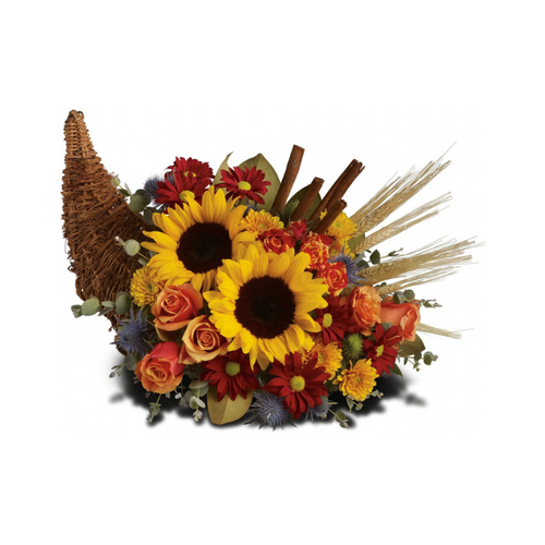 Along with joy, this cornucopia carries an abundance of beautiful fall flowers and foliage. A stunning centerpiece or inviting entryway display, this beauty will be at home anywhere in the house.