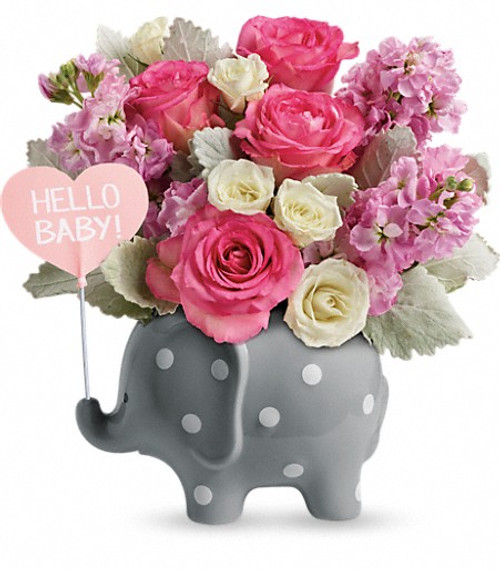 New Baby Girl, pink blossoms, elephant