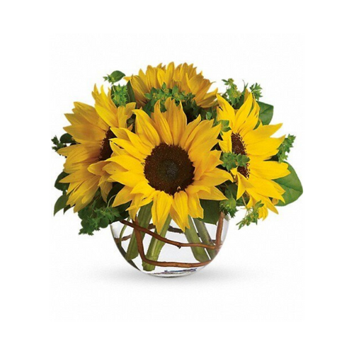 Simple, charming and happy! Sunflowers in a clear glass bowl are sure to bring joy to any room.