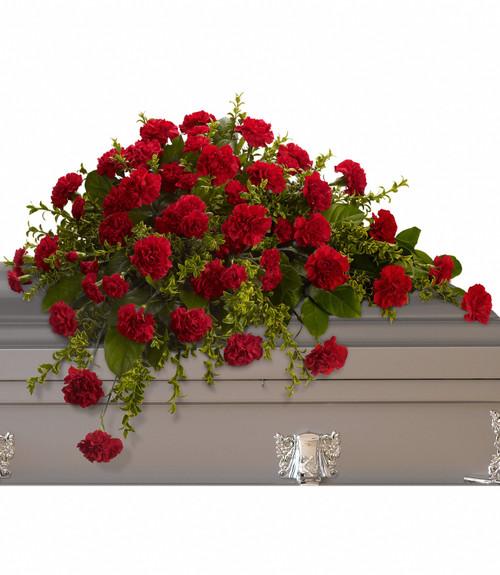 Casket Spray red carnations