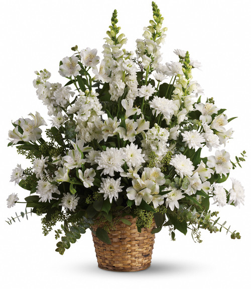 Funeral basket, all white flowers