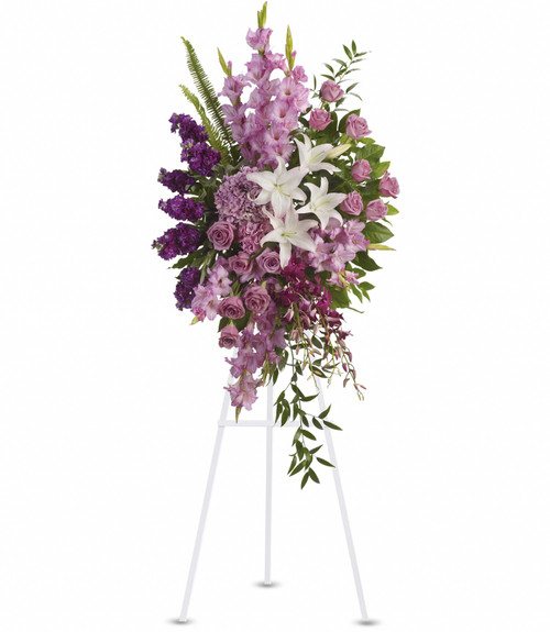 Standing Spray in lavenders, whites and purples