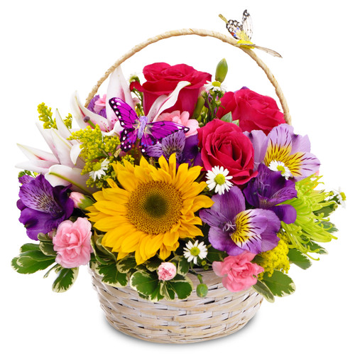 Basket filled with colorful blooms, butterflies