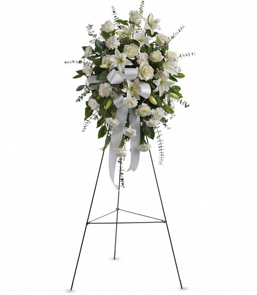 Standing spray in all white flowers