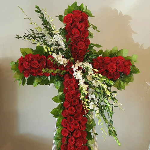 Red Rose and Orchids Funeral Cross, 72 inches tall and designed with premium red roses and long lasting orchids.