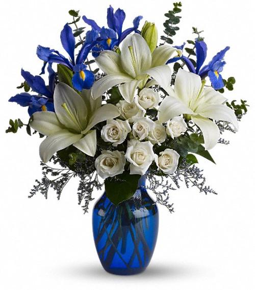 Iris and white lilies