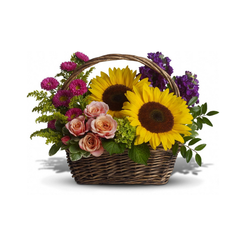 Life will be a picnic for whoever's lucky enough to receive this gift. It's a lovely basket that's chock full of fabulous flowers.