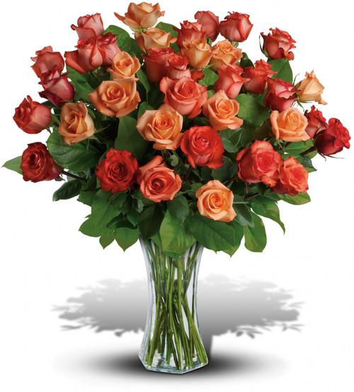 36 orange and peach roses