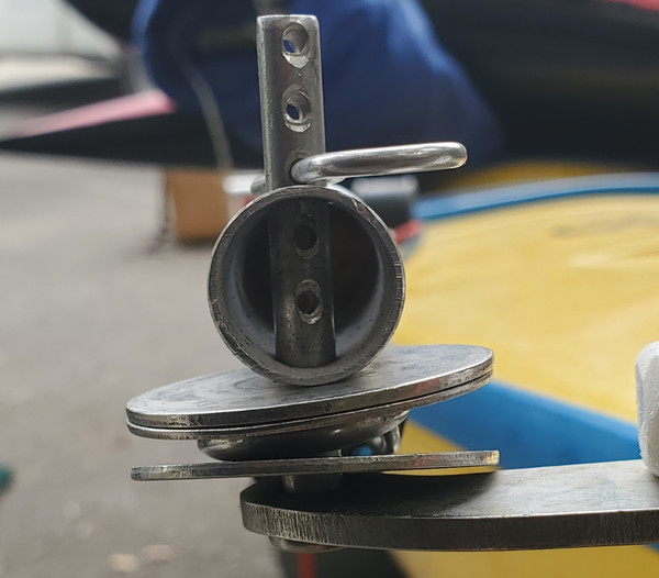 """Bore rudder arm holes to 1/4"""" diameter and using washers thread pole and rudder line onto clevis."""