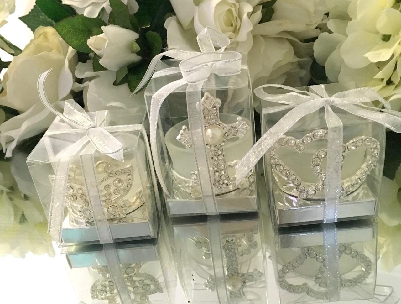 Diamante Pearl Cross Tealight candle Holder Christening Wedding Bomboniere Favor