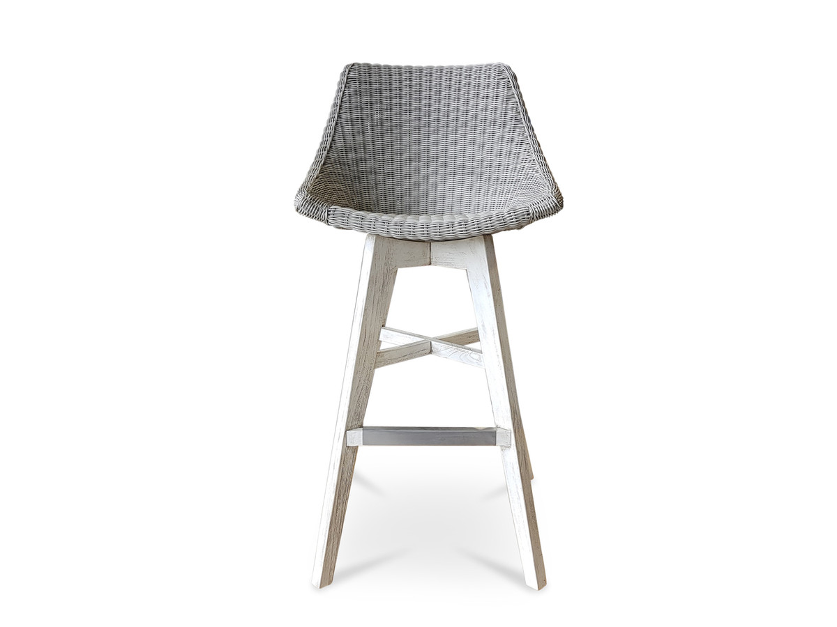 Super Obi Outdoor Rattan Synthetic Wicker Bar Stool With Teak Legs Bralicious Painted Fabric Chair Ideas Braliciousco