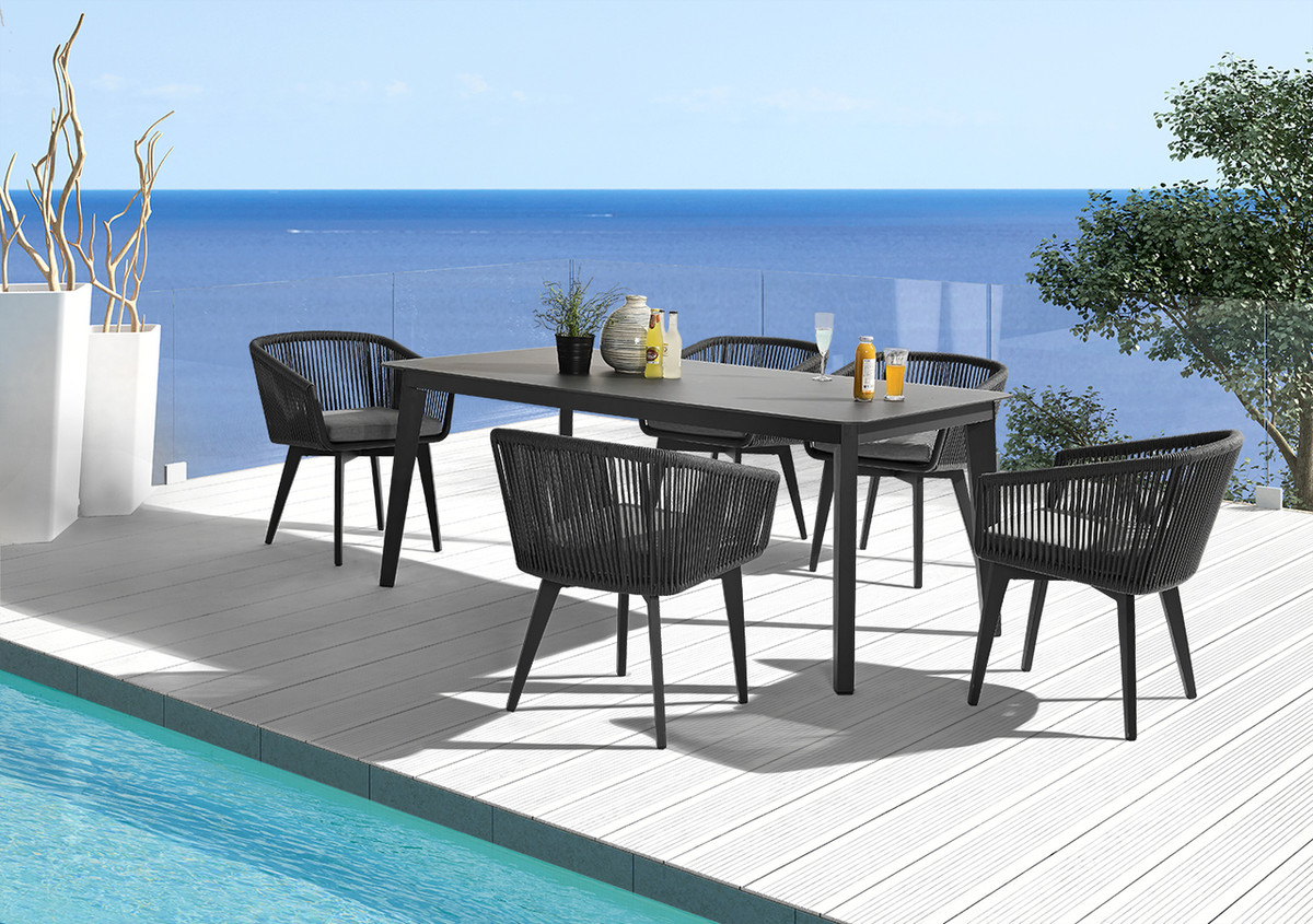 Diva outdoor aluminium and HPL top dining table - Charcoal and ...