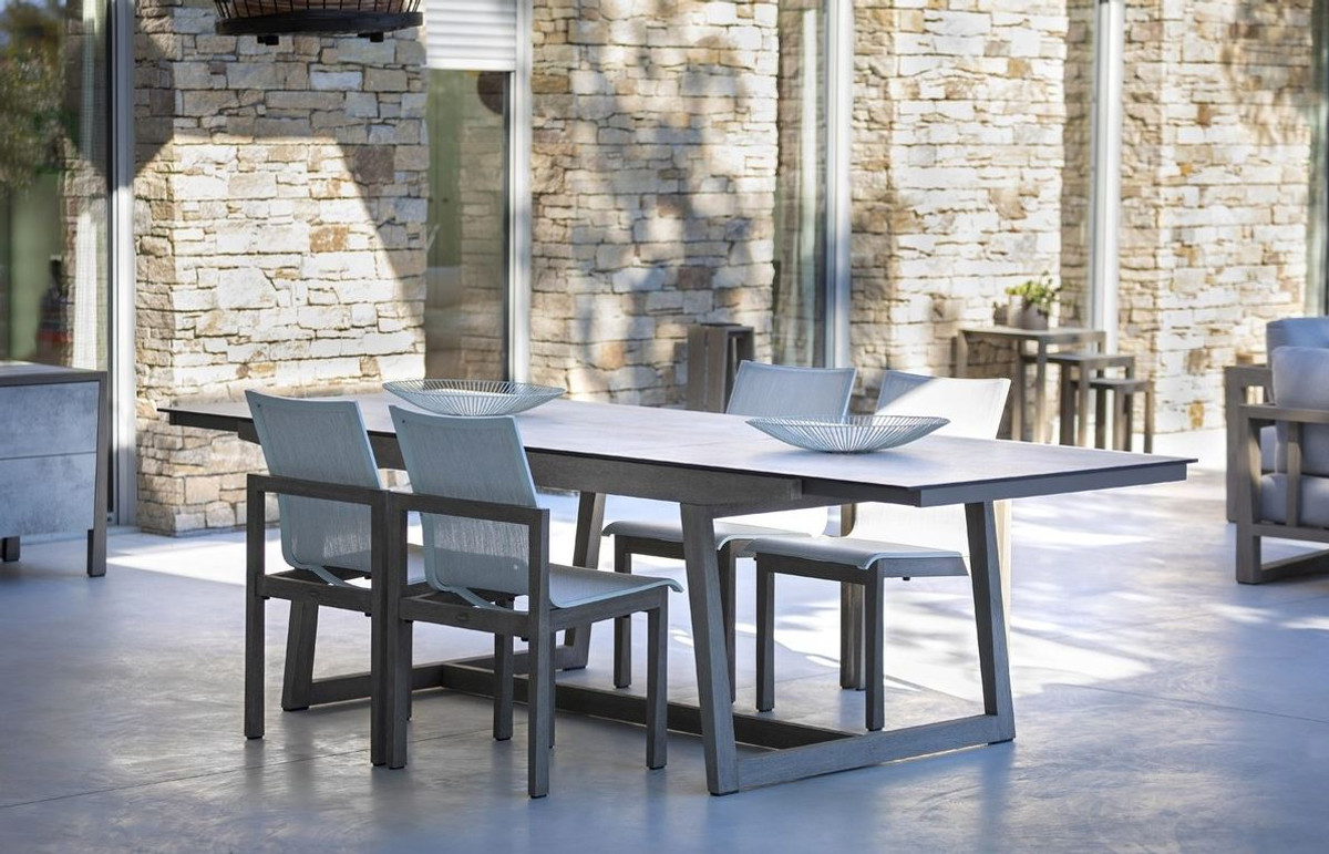 Skaal outdoor teak and HPL top extending dining table 200 270cm