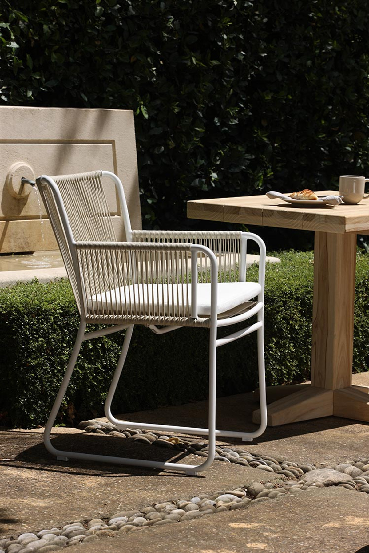 Portland bistro aged teak outdoor table 80 x 70 x 76H