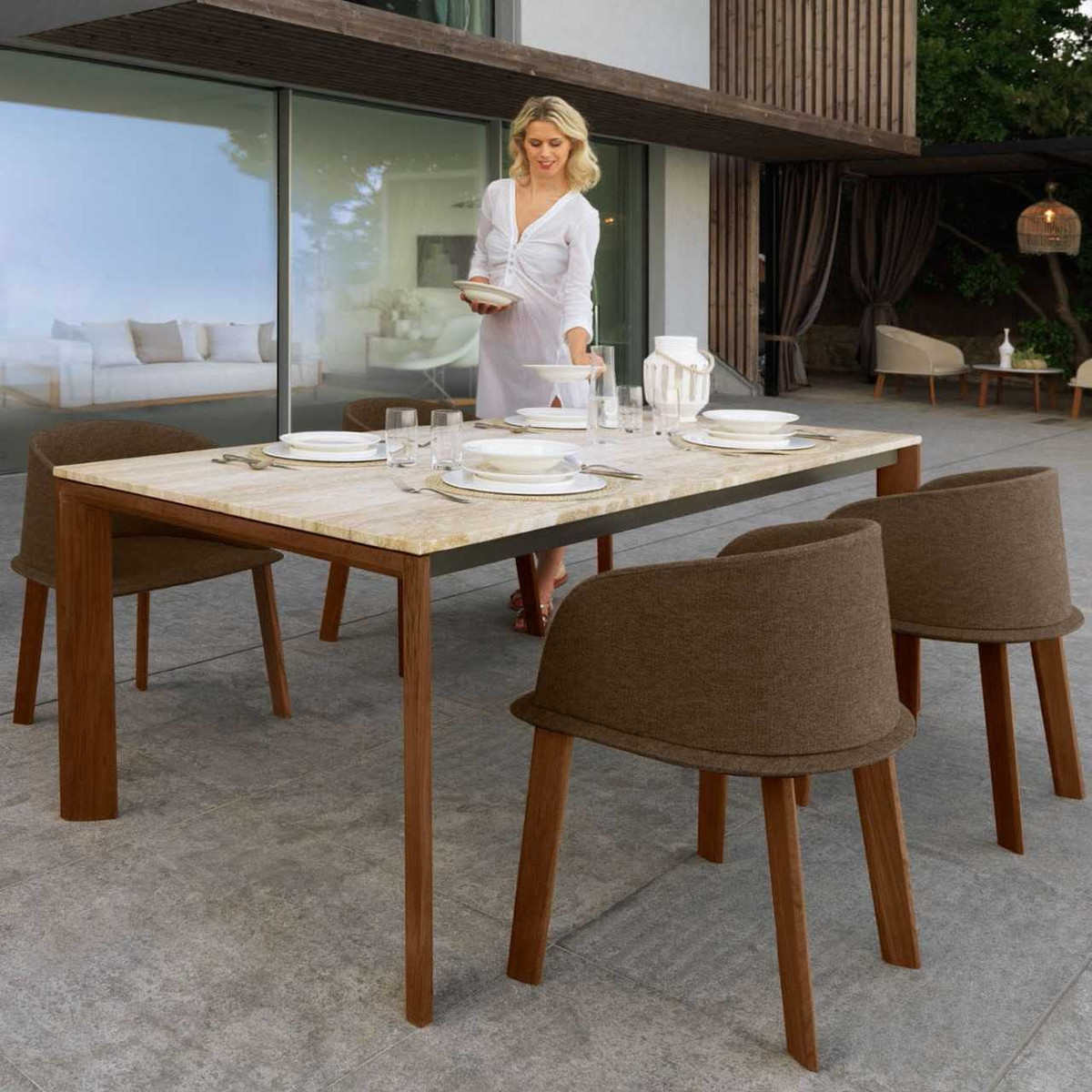 Cleo Wood Marble Outdoor Dining Table By Talenti Poynters