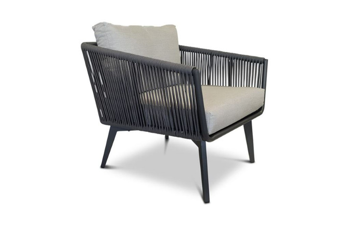 Diva outdoor lounge chair in charcoal powder-coated aluminium with outdoor rope and Sunbrella cushions.