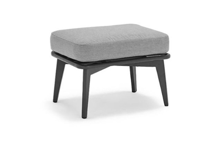 Diva outdoor aluminium and rope footstool - Charcoal, with Sunbrella cushions