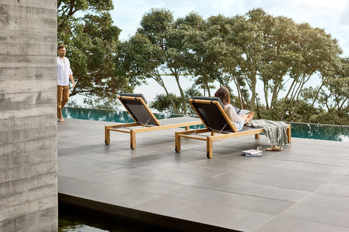 Ambient image of Devon Mokaui teak outdoor sun loungers