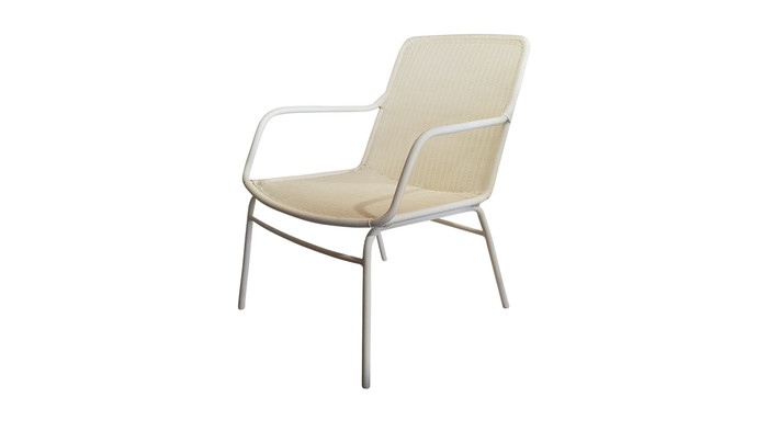 Angle view of Felix outdoor low lounge chair in Stone White finish