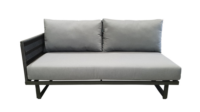 Front view of right arm Hamptons outdoor sofa