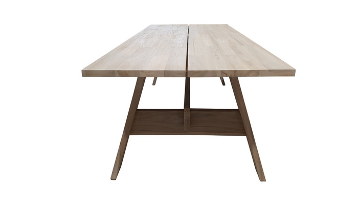 End view of Vista outdoor aged teak dining table