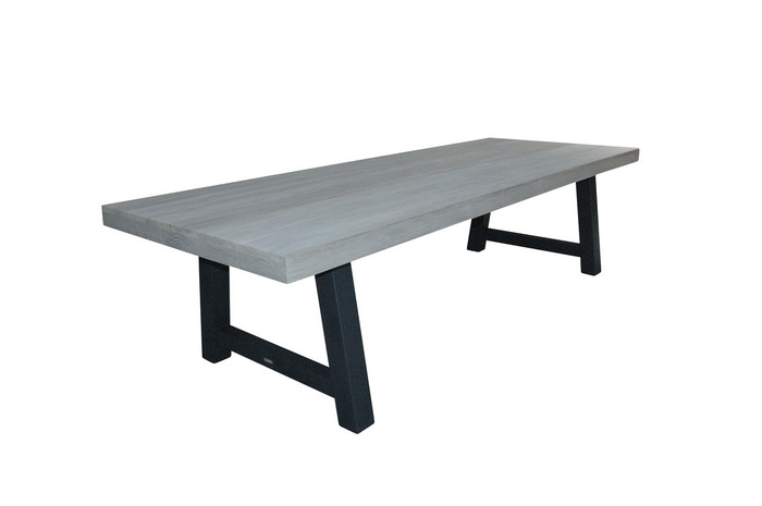 Beach outdoor aged teak table with steel legs