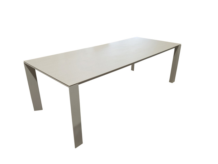 Orlando powder-coated white aluminium outdoor table with ceramic Timber Ice wood grain effect top