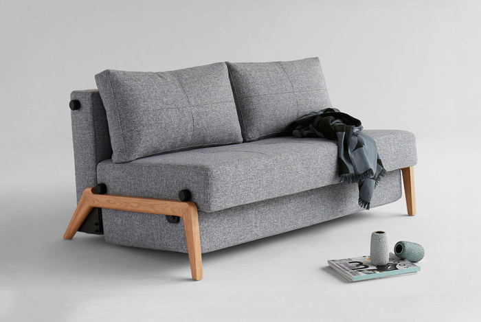 CUBED 02 140 Double Sofa Bed with Oak Legs