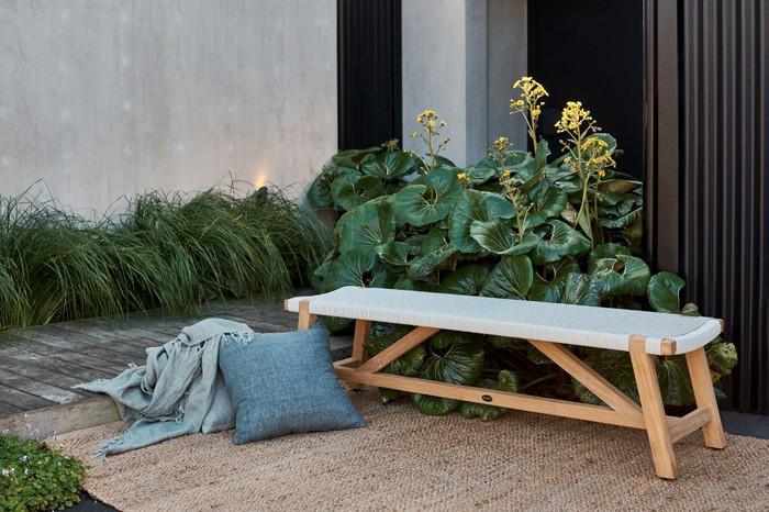 Devon Sawyer teak outdoor bench 180cm in whitewash