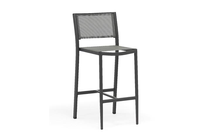 Polo outdoor bar stool in dark grey with batyline mesh