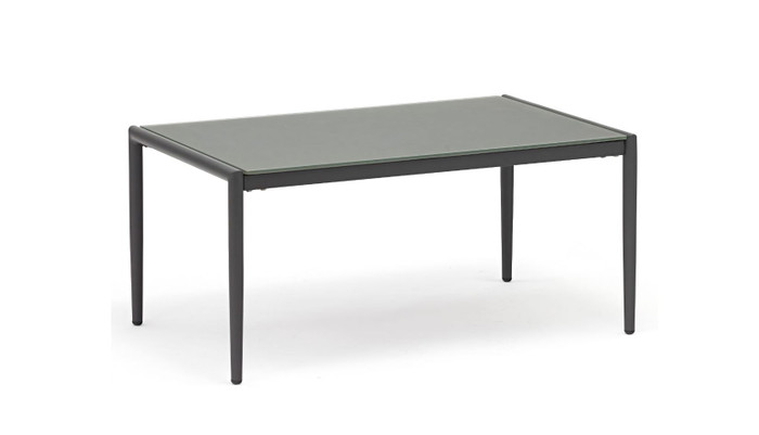 Polo frosted, tempered glass top coffee table with dark grey frame