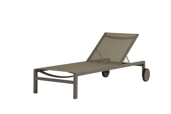 Ella sun lounger with powder-coated aluminium frame and Branded Batyline mesh, in taupe