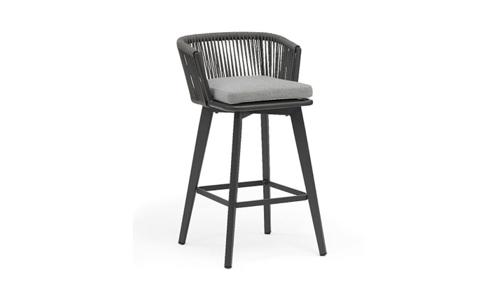 Diva outdoor bar stool with aluminium frame, rope and sunbrella cushions