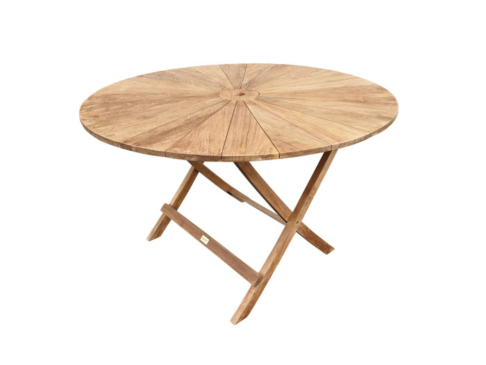 Matahari round, folding teak table 120cm dia.
