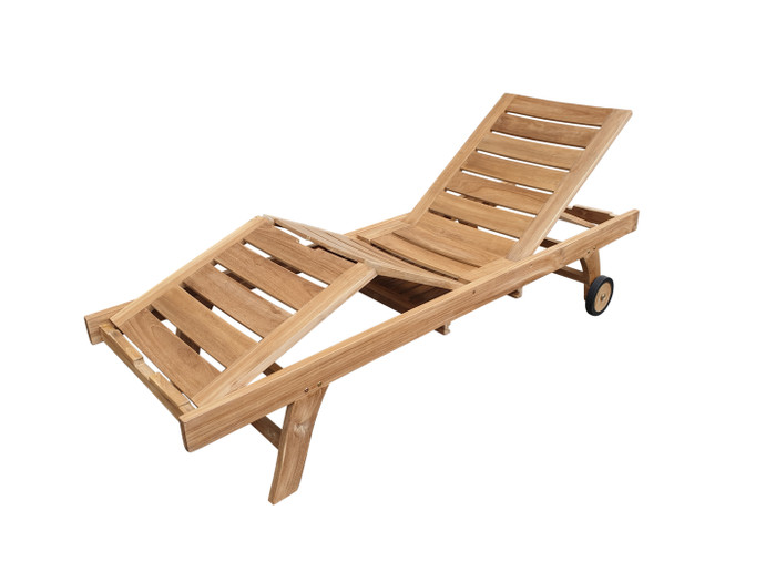 Malibu teak sun lounger with adjustable seat and back rest