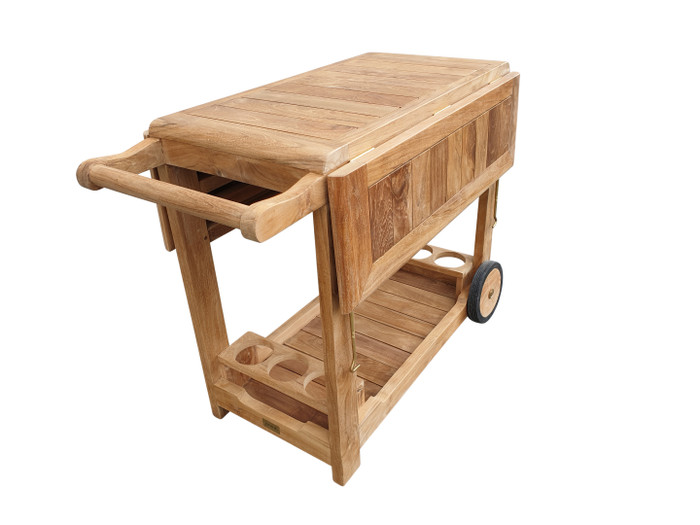 Alternate view of Luxman teak outdoor trolley