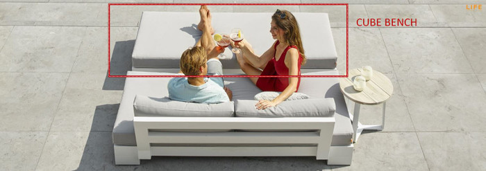 Cube outdoor bench by Life in white finish. Picture also shows Cube sofa available separately. Join both pieces together to form a sumptuous day bed