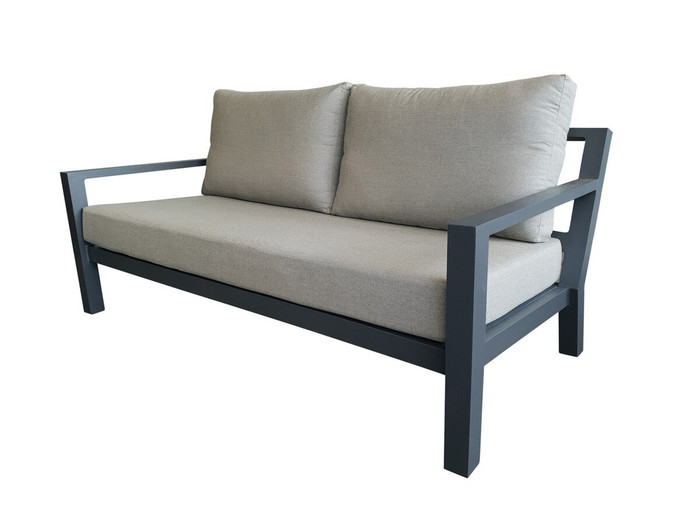 Life Timber Alu outdoor sofa in lava frame.