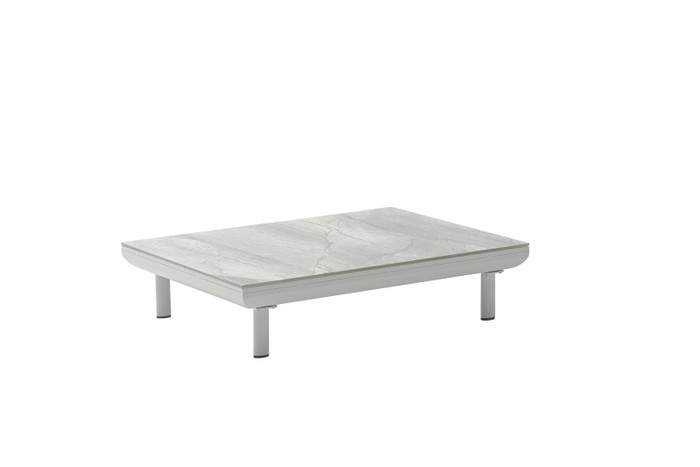 Club outdoor coffee table by Couture. Powder-coated aluminium with ceramic top