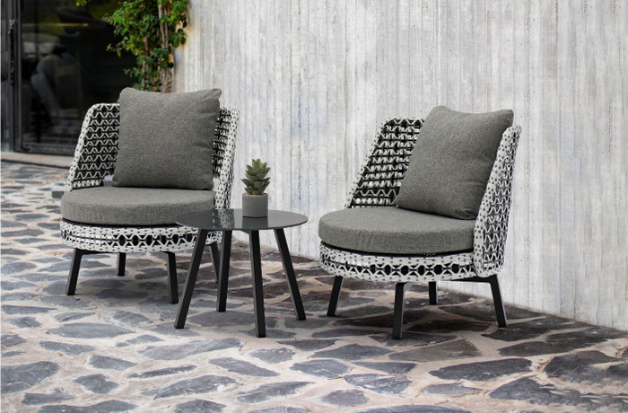 Tri-colour Tiki Swivelling Outdoor Aluminium and Synthetic Wicker Lounge Chair, shown with Tiki side table, available separately