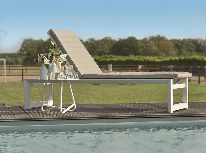 Delta high seat sun lounger - 40cm height, with Sunbrella Natte Grey cushion squab and headrest included. Please note, squab in image differs slightly from actual supplied squab. We will supply you with the highest quality  squab in Sunbrella Natte Grey, with headrest pillow.
