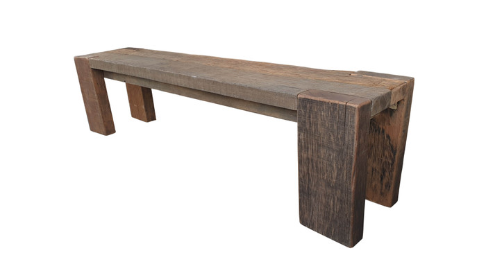 Exclusive reclaimed Railwood outdoor bench - please read characteristics. Very heavy ! 1.8m bench shown