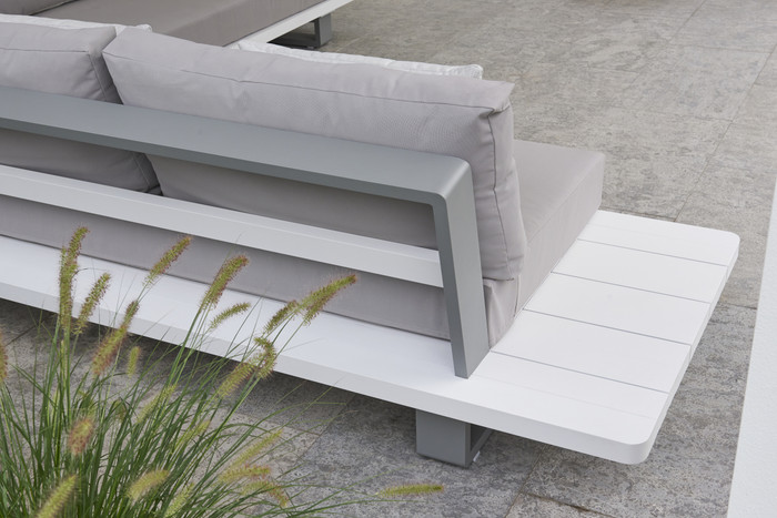 LIFE BORA BORA Large Format Outdoor Aluminium Corner Lounge - White and Grey, with Sunbrella cushions