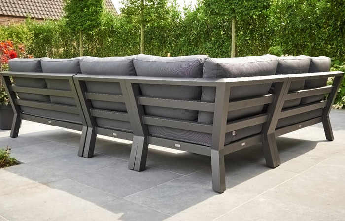 LIFE TIMBER Outdoor Aluminium Modular Corner Lounge HIGH ARM VERSION -  Lava Frame