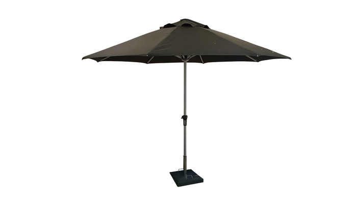 Monza 3.5m outdoor umbrella Please note: This umbrella is shown in black fabric, for illustrative purposes only, actual colour of the Monza 3.5m umbrella is solid mid-Grey colour.